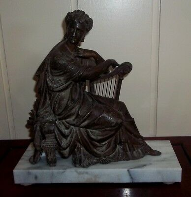 Antique Spelter Statue , of a Harpist