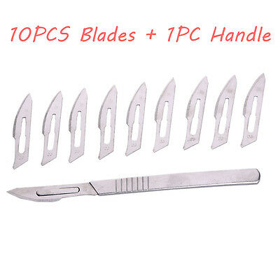 10Pcs Steel #23 Medical Surgical Blades Circuit Board + #4 Scalpel Knife Handle