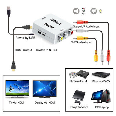 1-in 3-out HDMI 2AV HDMI TO AV/RCA L/R CVBS HD 1080P Video Convertor Adapter