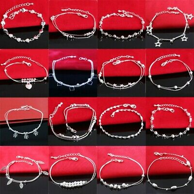 Woman Girl 925 European sterling Jewelry silver bracelets charms bangles chain