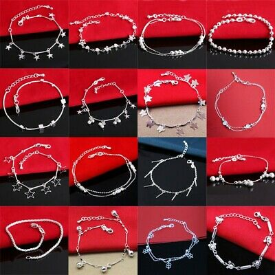 NEW Woman 925 European sterling Jewelry silver bracelets charms bangles chain C1