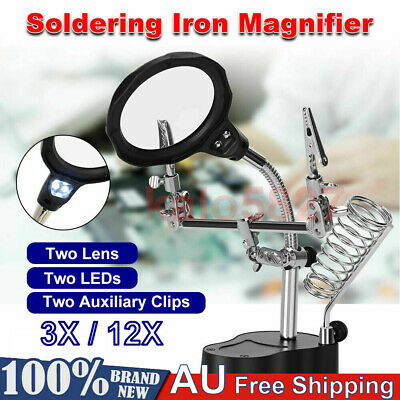 3/4.5X LED Helping Hand Clamp Magnifying Glass Soldering Iron Stand Magnifier AU