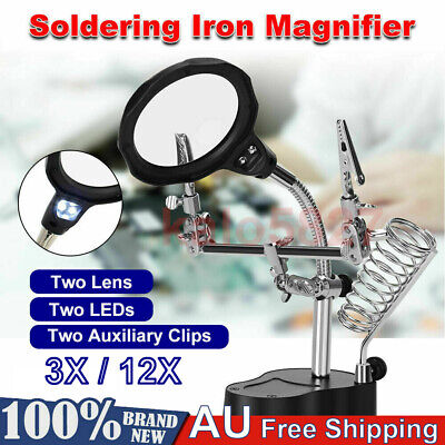 LED Helping Hand Clamp Magnifying Glass Soldering Iron Stand Lens Magnifier P2G1