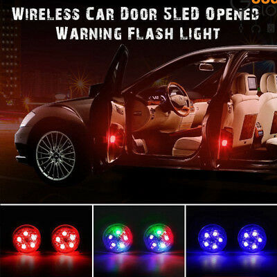 2/4Pcs Car Door LED Opened Warning Flash Light Universal Wireless Anti-collid