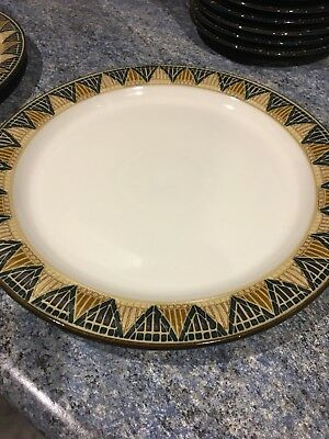 Denby Boston Spa Dinner Plate.  Dark Blue  Checkered 10.5 Inch More available