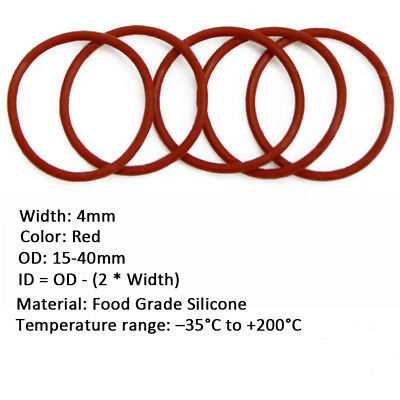 50/100pcs 4mm Wire Dia Red FOOD GRADE Silicone Gasket O Ring Seal OD 15-40mm