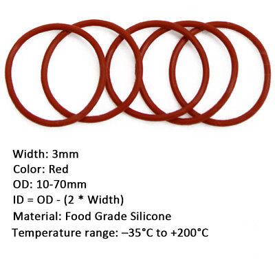 50pcs 3mm Red Food Grade Silicone Gasket  HIGH TEMP O-Ring Seal OD 10-70mm