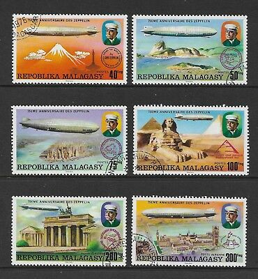 MALAGASY REPUBLIC 1976 75th Anniversary Zeppelin, set of 6, CTO