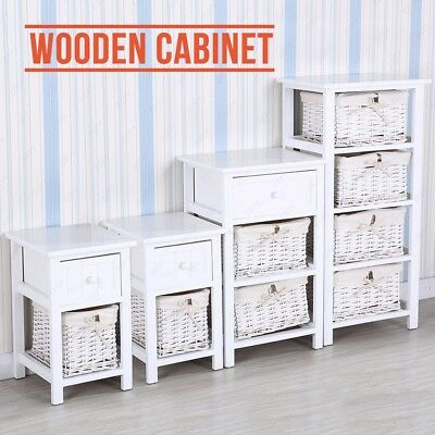 White Wooden Nightstand End Table Bedside Table Dresser with Wicker Storage  sc 1 st  PicClick & NIGHTSTAND BEDSIDE END Table Storage Unit W/ Baskets 4 Drawers White ...