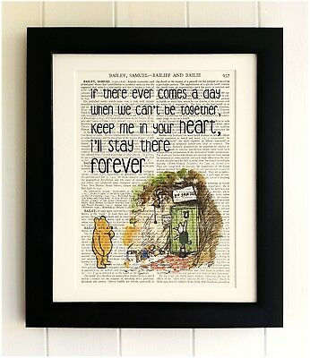 ART PRINT ON OLD ANTIQUE BOOK PAGE *FRAMED* Winnie the Pooh, Bear Quote, Piglet
