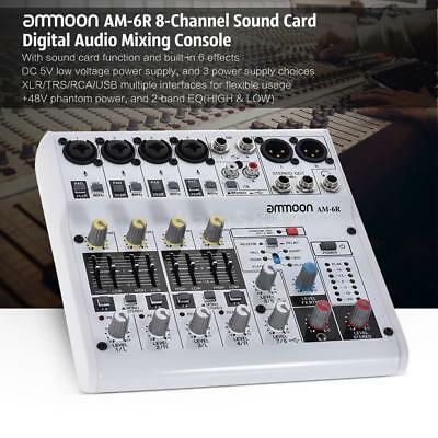 8-Channel Sound Card Digital Audio Mixer Mixing Console for Recording Live 16Bit