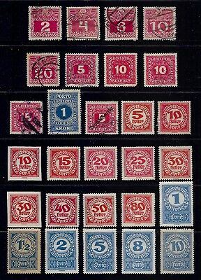 AUSTRIA 1908-1920 Postage Due stamps, used & mint