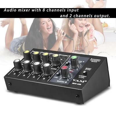 Ultra-compact Low Noise 8 Channels Metal Mono Stereo Audio Sound Mixer New K3K8