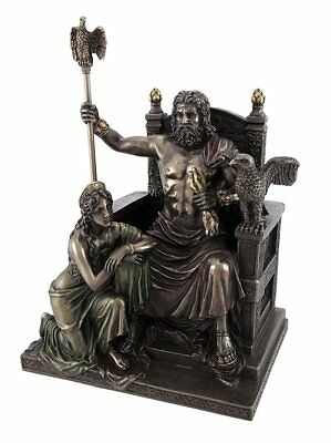 Bronzed Zeus and Hera at the Throne Statue with Colored Accents