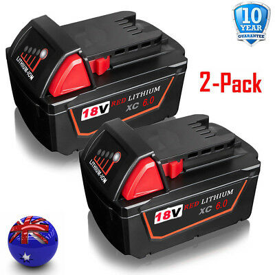 2x 18V 6.0Ah Red Lithium Ion XC 6.0Ah Battery For Milwaukee M18 M18B4 48-11-1828