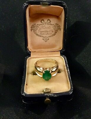 Antique 14K Gold,emerald Art Deco Ring From 1930S Size 5 1/2