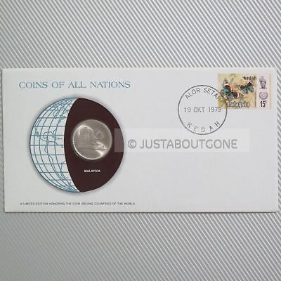 Malaysia 1977 50 Sen Fdc Coins Of All Nations Uncirculated Stamp 1979 Cover Pnc