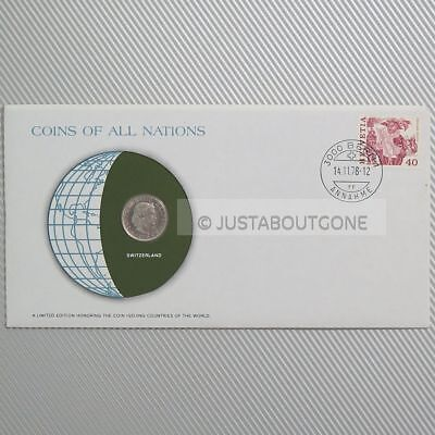 Switzerland 20 Ceents 1976 Fdc ─ Coins Of All Nations Uncirculated Stamp Cover