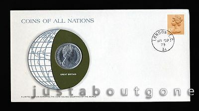 Great Britain 10Pence 1979 Fdc Unc Coins Of All Nations Uncirculated Stamp Cover