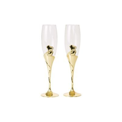 Wedding Toasting Wine Glasses, Gold Stems