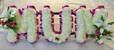 Mum Artificial Silk Funeral Flower Any 3 Letter Word Wreath Name Tribute Nan Dad