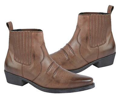 Mens Leather Gringos Ankle Boots Slip on Western Boots Chelsea in Brown UK6 - 12