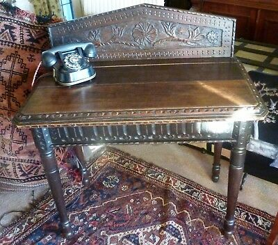 ANTIQUE / VINTAGE OAK HALL or side or telephone TABLE with carved detail