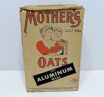 Vintage Mother's Oats With Aluminum Ware Box 1940s