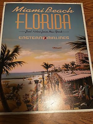 Miami Beach Florida Eastern Airlines Metal Advertising Sign Tin Vacation