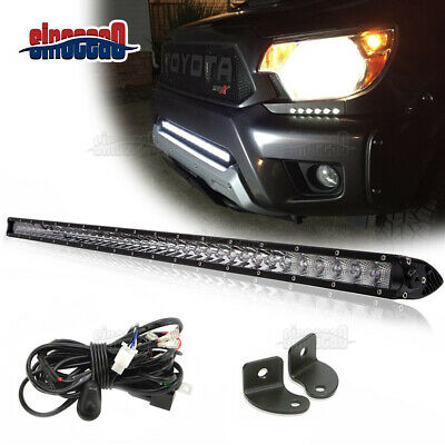 """30"""" 150W Slim LED Light Bar Lower Bumper Grille +Wiring For Toyota Tundra Tacoma"""