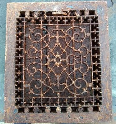 Victorian Cast Iron Heat Grate Vent Register Old Decor Vintage 10x12 (C1-B)