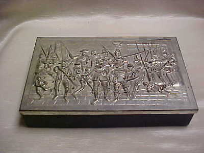 Vintage Candy or Cookie Box Black Plastic Bottom with Metal Top Musketeer Scene