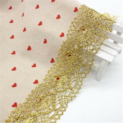 1 Yard Golden Lace Trim Embroidery Wedding Applique Dress Sewing Craft Decor