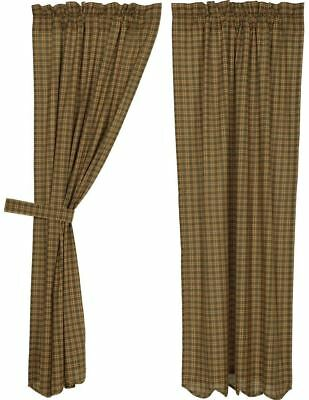 Country Curtains Tie Backs Cotton Lined Green Brown Lodge Style Plaid Barrington