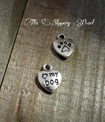 4 or 20 BULK pcs Antique Silver I Love My Dog Heart Charms US Seller AS032