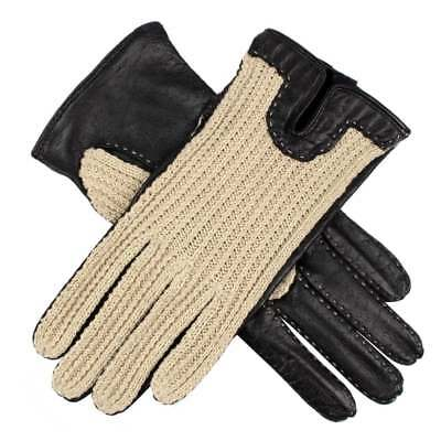 Dents Kelly Ladies Crochet Back Leather Driving Gloves BLACK