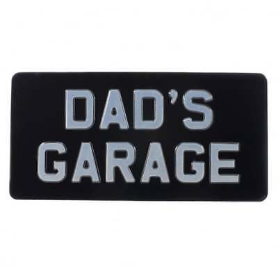 The 1894 Sign Company Embossed Sign DAD'S GARAGE 12 x 6 inches Black & Silver