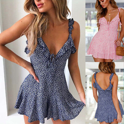 Boho Womens Summer Mini Dress Ladies Strappy Holiday Beach Party Floral Sundress