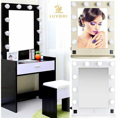 Hollywood Light Up LED Dressing Table & Wall Mounted Cosmetic Vanity Mirror