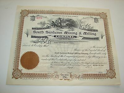 South Sunbeam Mning & Milling Company Stock Certificate Tintic District Utah
