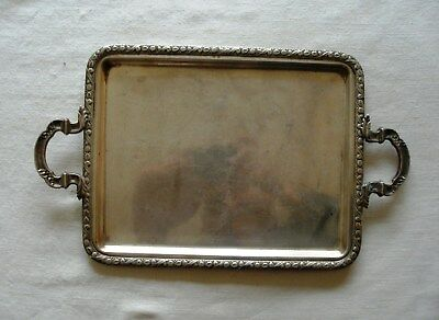 Beautiful  Rectangular Silver Tray with Handles and Edge Decoration.