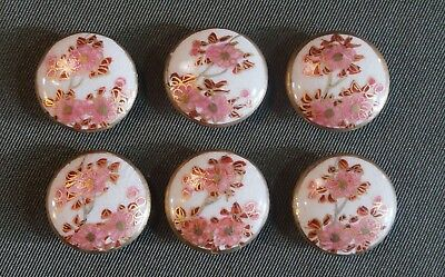 Set of 6 Vintage Japanese Porcelain Enamel Satsuma Buttons Cherry Blossom