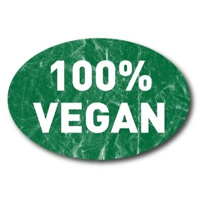 100% Vegan Magnet 4x6 inch Green and White Oval Decal Great for Car or Fridge