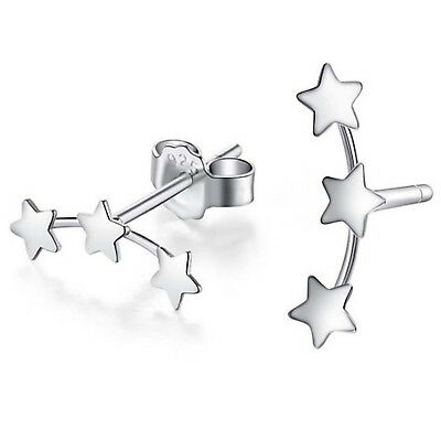 Pretty 925 Sterling Silver 3 Star Stud Crawler Earrings UK Seller -288