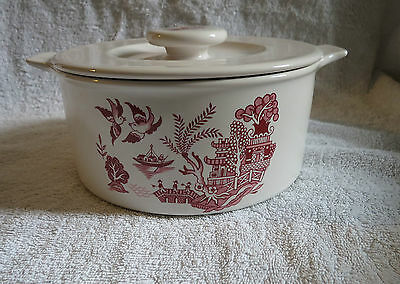 Hornsea Pottery 7.5 Inch  Pink Willow Pattern Tureen / Serving / Casserole Dish