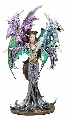 """Fairy With Two Guardian Dragons Figurine 10.25"""" Height Fantasy Collection Decor"""