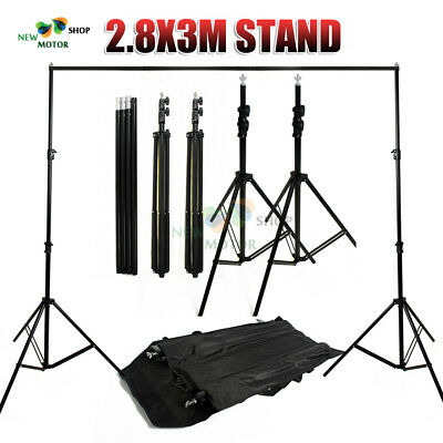 2.8x3m Photo Studio Background Backdrop Support Stand System Set w/ Carry Case