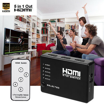 5 PORT 1080P HDMI Switch Switcher Selector Splitter Hub w/IR Remote For HDTV PS3