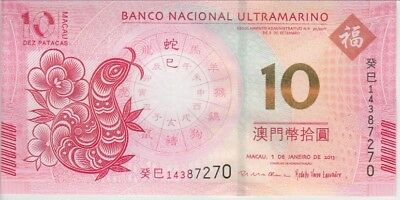 Macao Banknote P86 10 Patacas 2013 BNU Year of the Snake, UNC