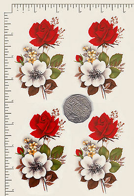 """4 x Waterslide ceramic decals Red and white roses Approx. 3 1/2"""" x 2 1/2"""" PD822"""